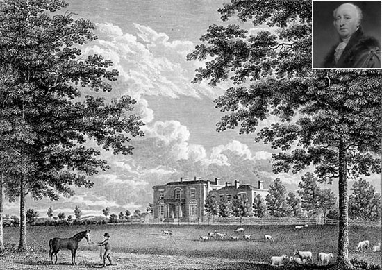 Brockwell Hall in 1820 with John Blades inset top right