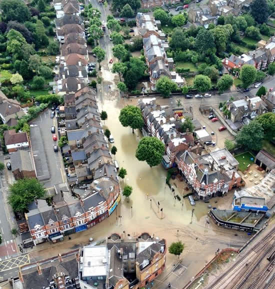 Herne Hill's flood from the air
