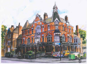 Painting of Half Moon pub facade